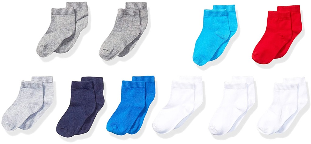 ten pairs of toddler boys socks in white, grey, blue, and red colors