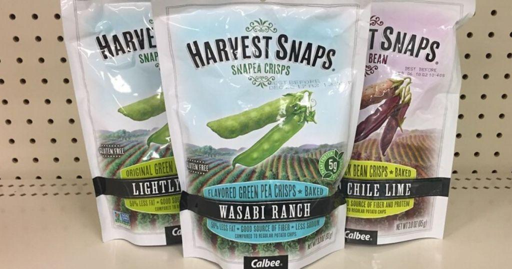 three bags of harvest snaps snap pea crisps