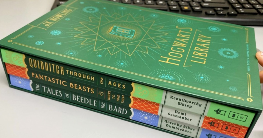 green Hogwarts library book set with three hardcover books inside