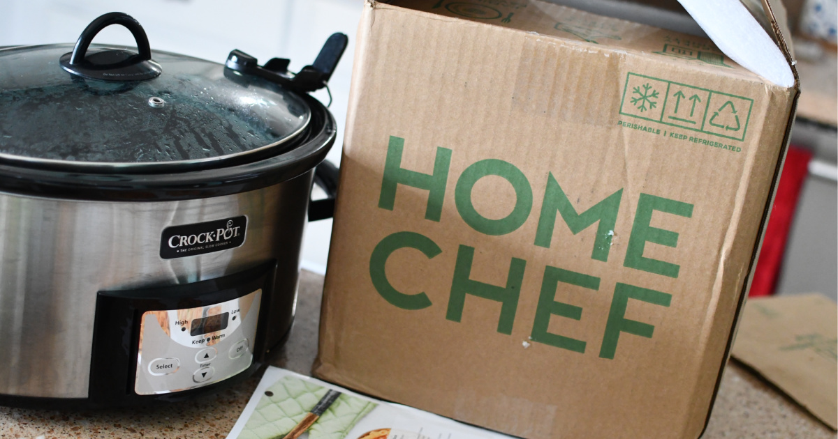 home chef box n counter with crockpot next to it