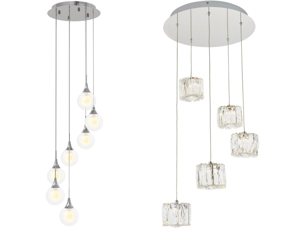 two silver pendant light fixtures