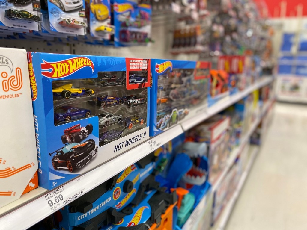 target shelf with hot wheels 9 pack car gift set