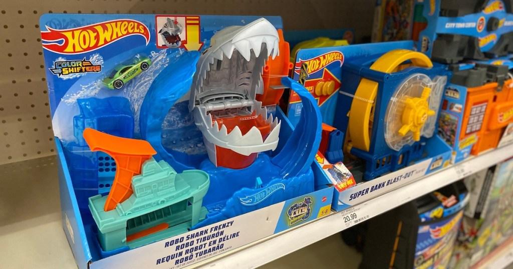 target shelf with hot wheels robo shark