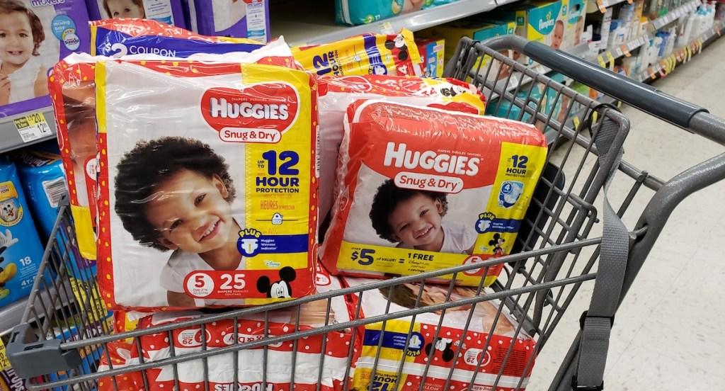 Huggies diapers in a cart