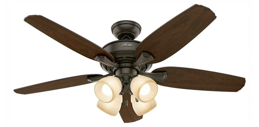 bronze colored ceiling fan with dark brown fan blades and four lights