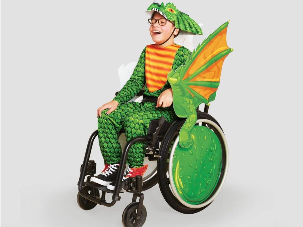 Hyde & EEK! Adaptive Dragon Halloween Costume Wheelchair Cover with Headpiece