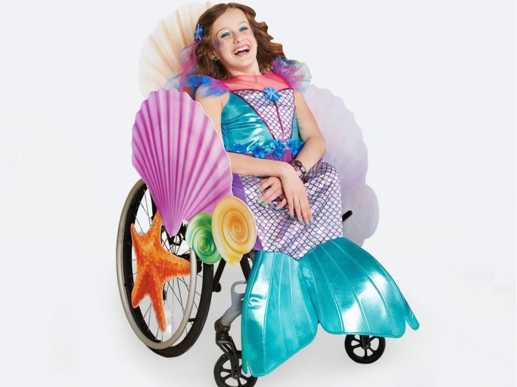 Hyde & EEK! Adaptive Mermaid Halloween Costume Wheelchair Cover with Hairpiece