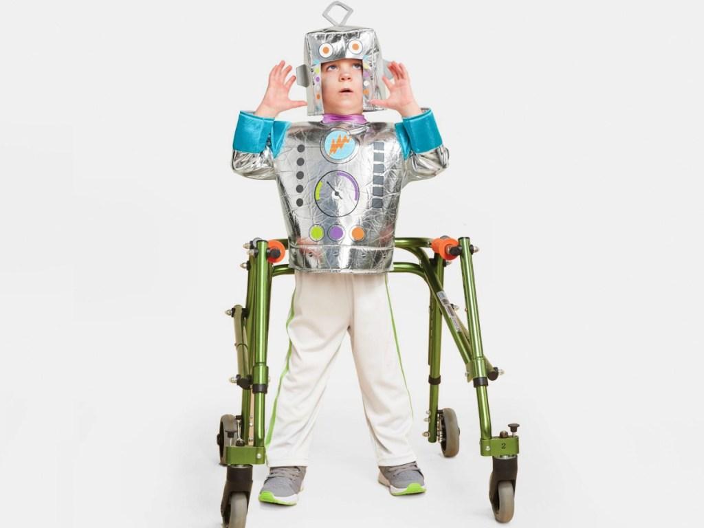 child wearing a Hyde & EEK! Adaptive Robot Halloween Costume
