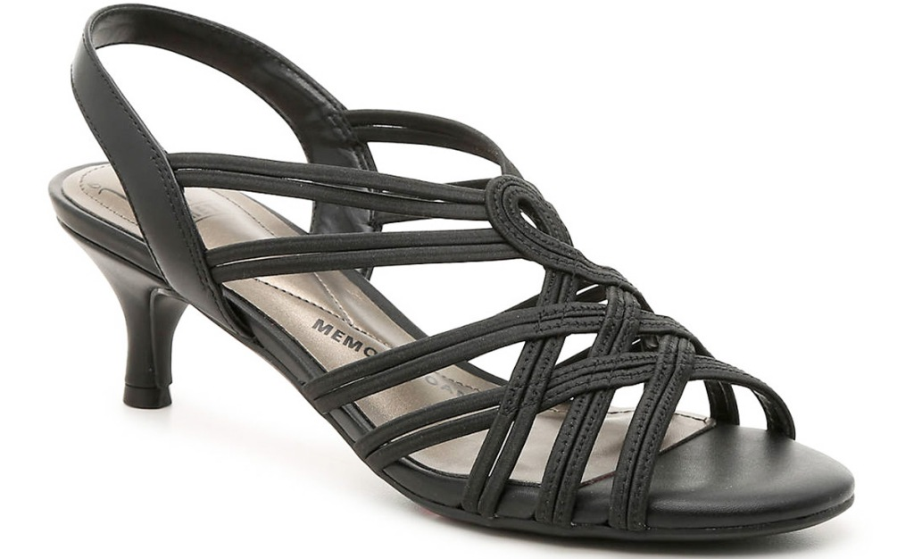 womens black sandal with short heel and criss-crossing straps