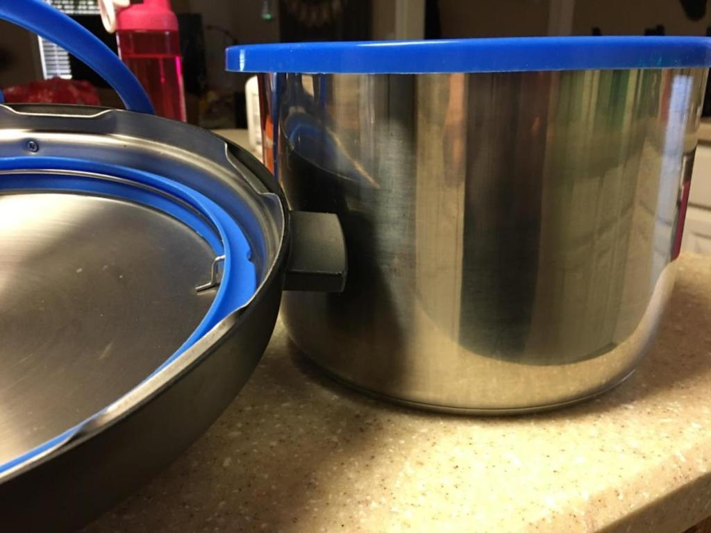 instant pot bowl with blue silicone cover