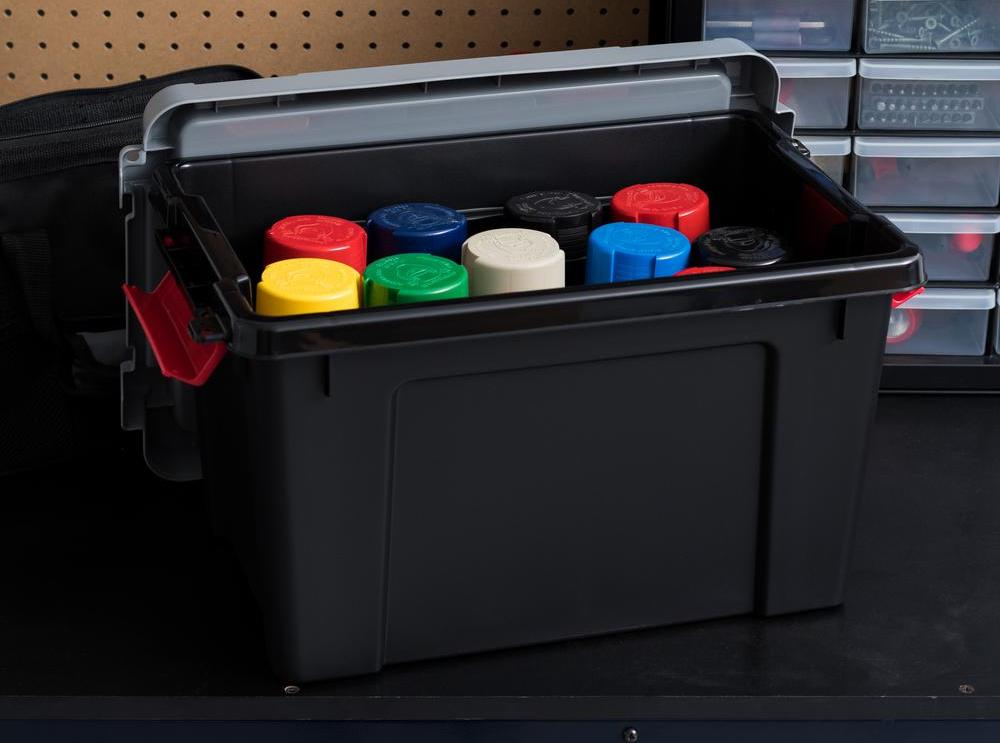 storage bin with pain cans in it