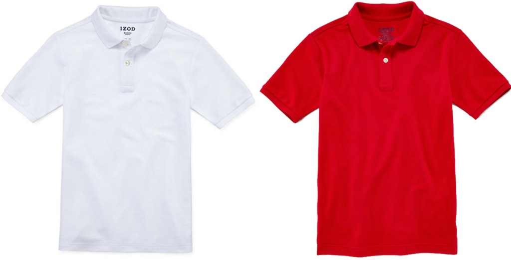 two boys uniform polo shirts in solid white and red colors