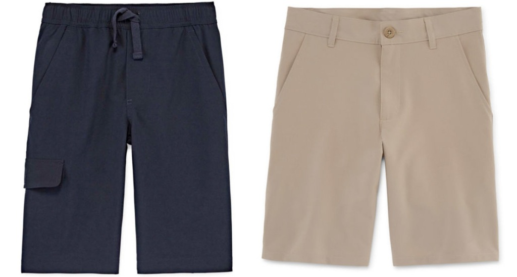two pairs of boys uniform shorts in black and khaki colors