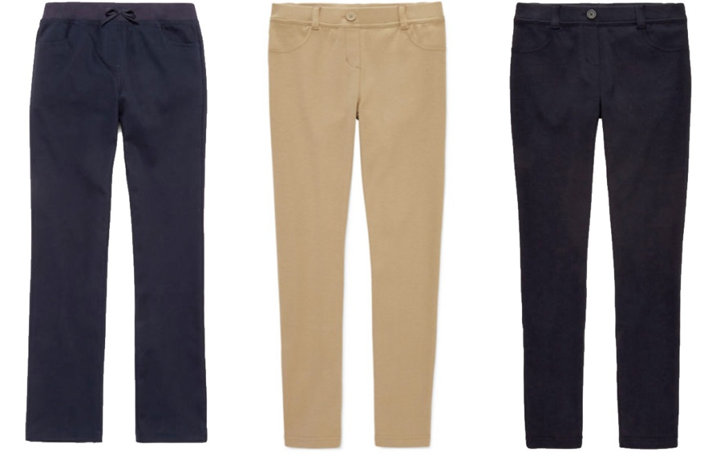 three pairs of girls uniform pants in black and khaki colors