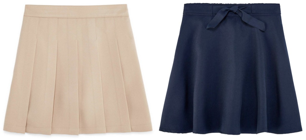 two pairs of girls uniform skirts in khaki and black colors