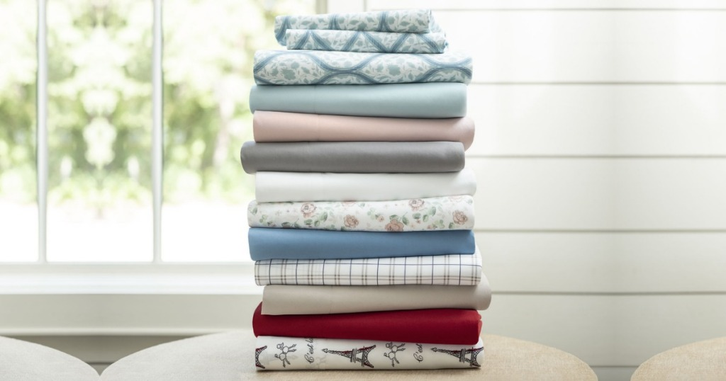 Stack of sheets on table
