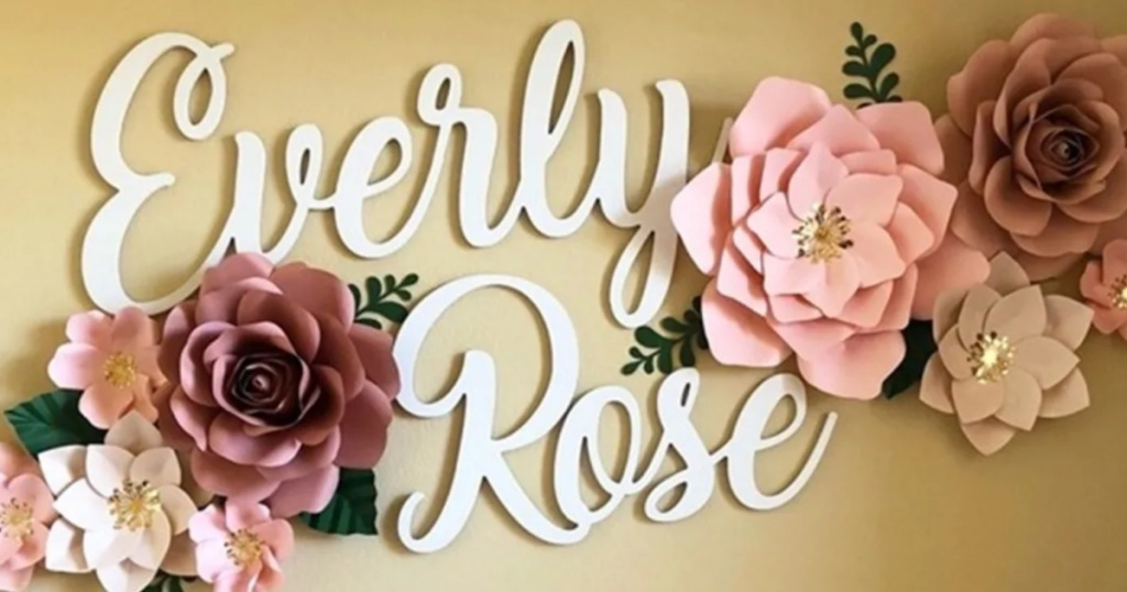personalized wood sign that reads everly rose