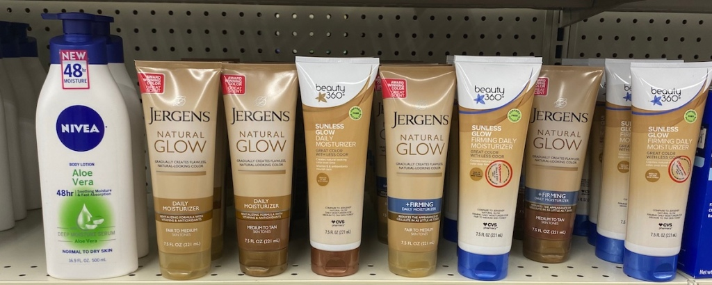 Jergens Natural Glow products on shelf