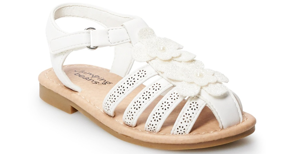 white girls closed toe sandals with glittery flowers on top
