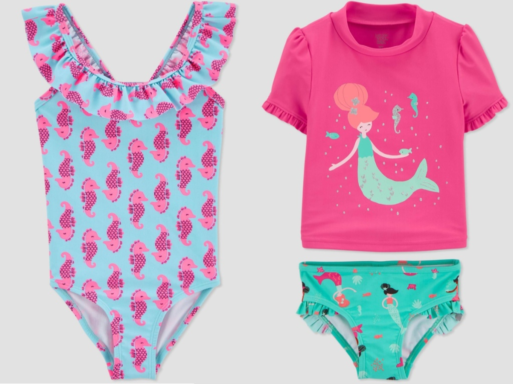 baby girl one piece swimsuit and rash guard set