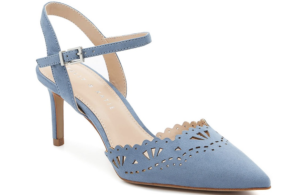 light blue womens pump with scalloped edges
