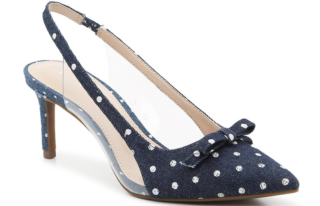 navy blue with white polka dots women's pump sandal with bow on top