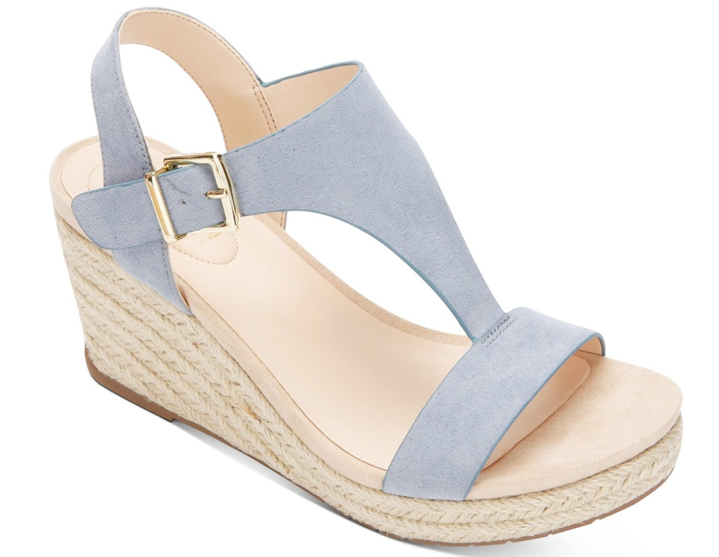 light blue wedge heel womens sandal with gold buckle