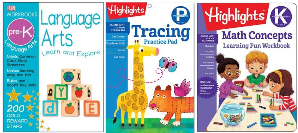 three kids educational book covers