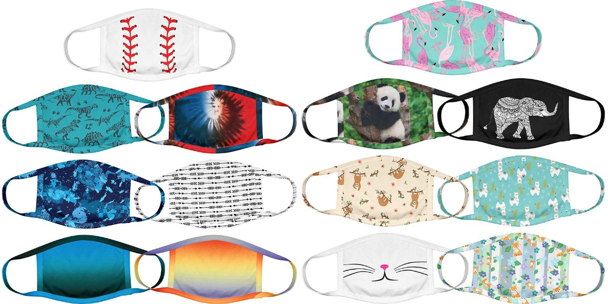 Large selection of face masks for kids