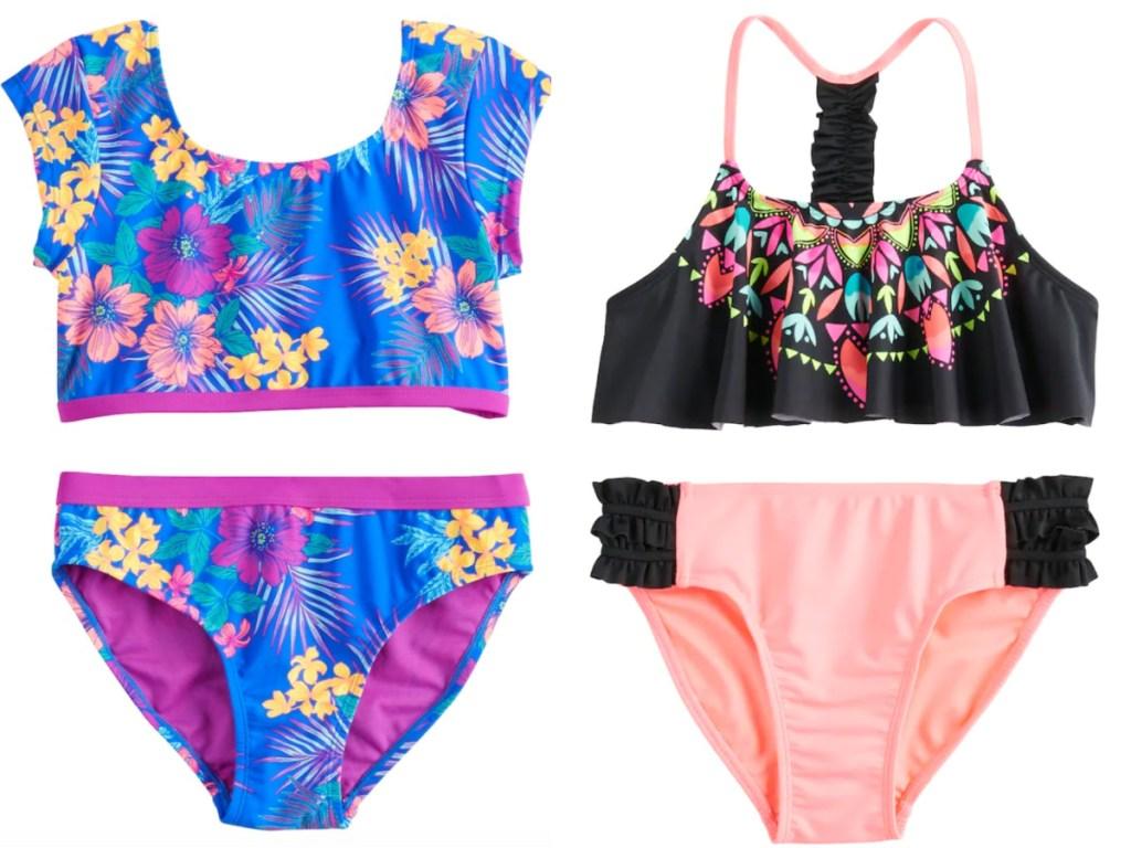 2 girls 2-piece swimwear sets sitting next to each other