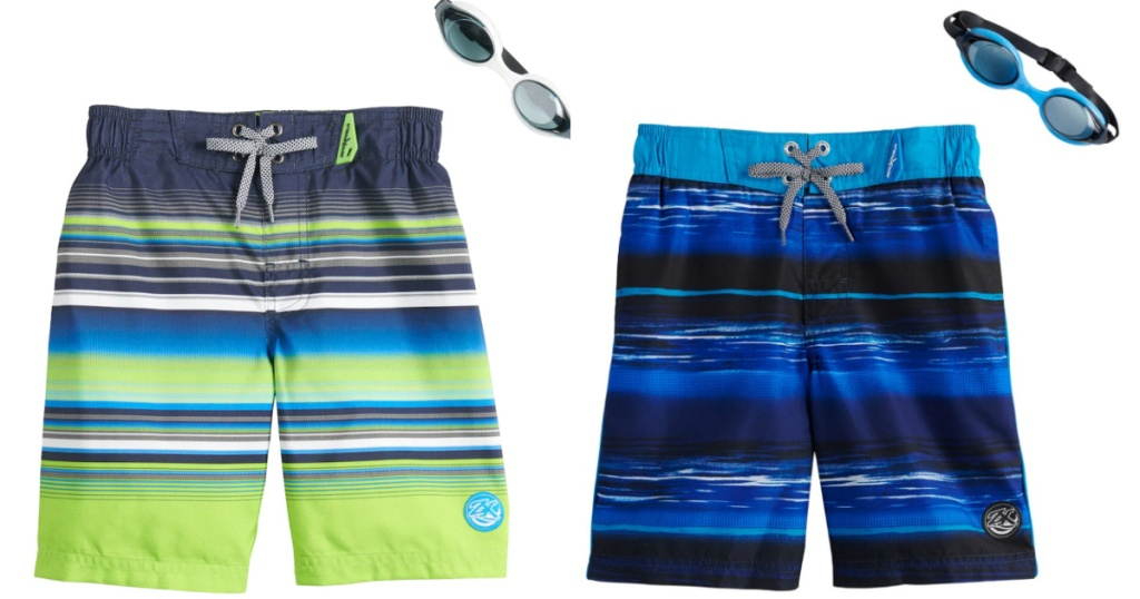 boys green and blue stripe swim trunks with matching goggles
