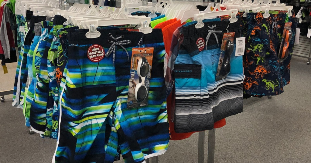 boys swim trunks with goggles at kohl's