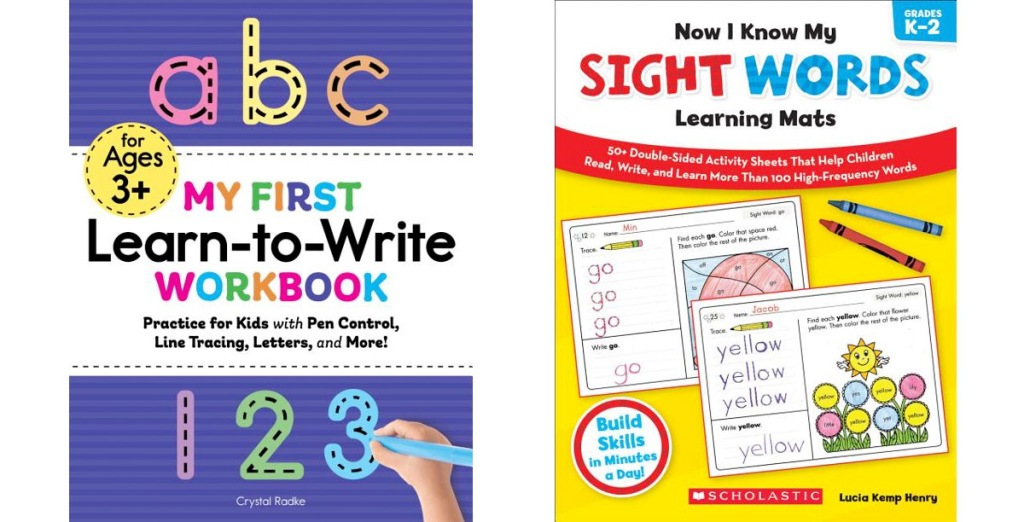 two kids workbooks covers for the books my first learn to write workbook and now I know my sight words