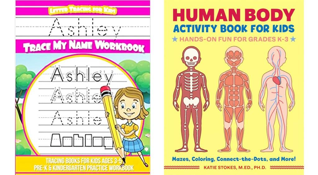 kids name writing workbook and human anatomy workbook