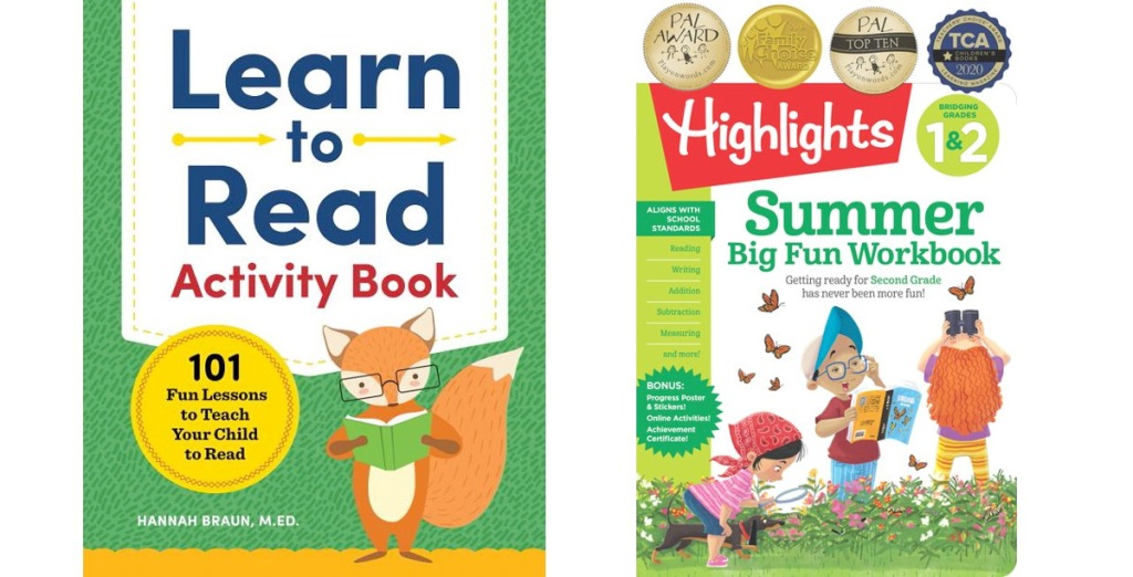 two kids workbooks covers for the books learn to read activty book and highlights summer learning