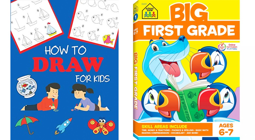 kids learn to draw book and first grade workbook