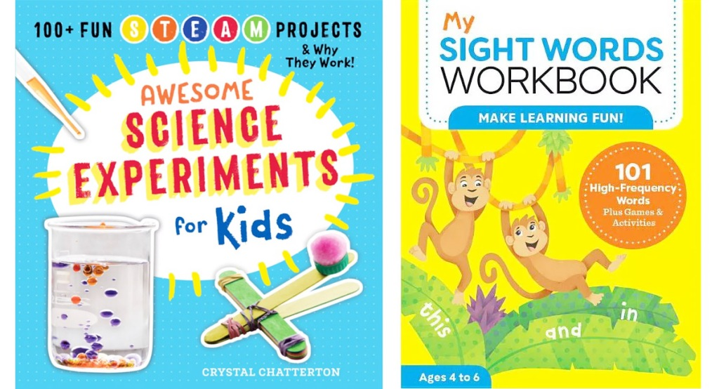 kids science expereiment book and sight words workbook