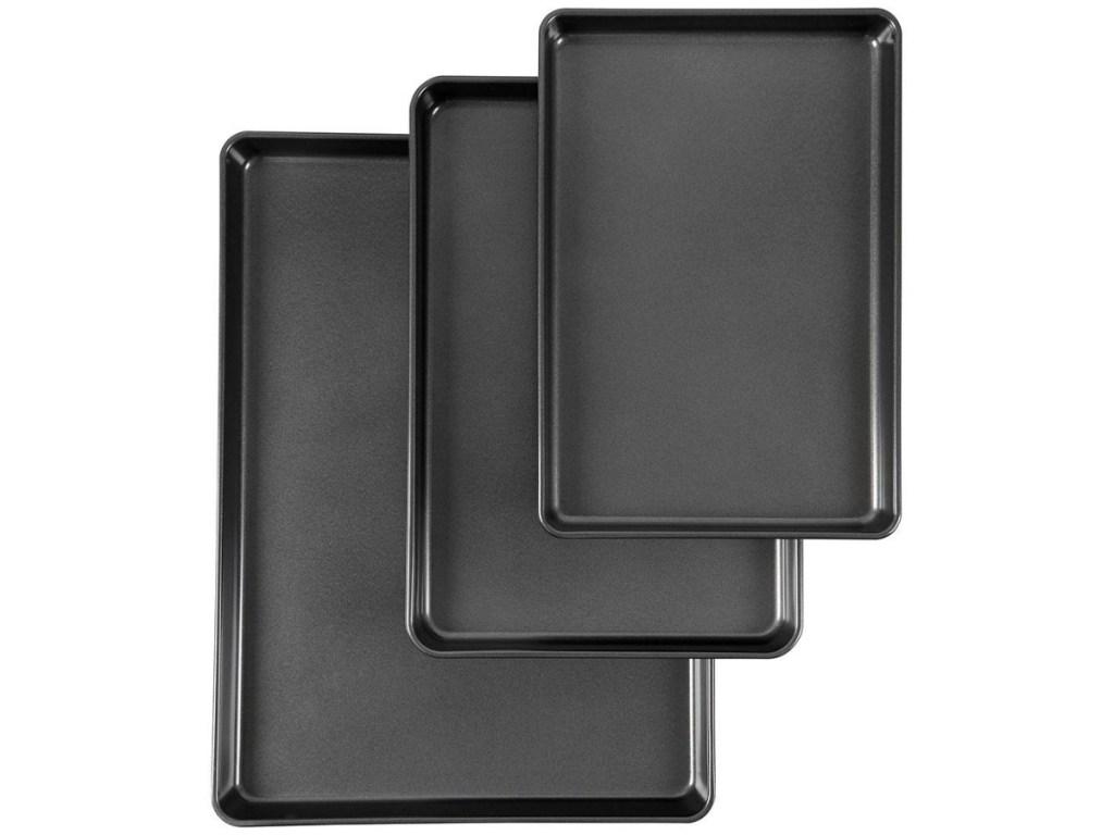 3 dark grey baking sheets