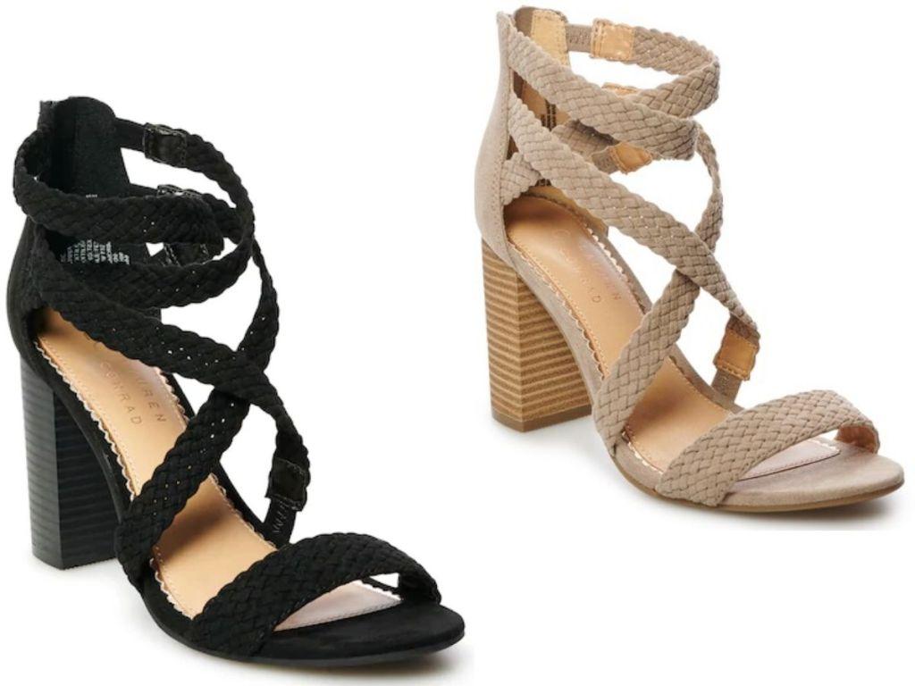 two women's high heel sandals
