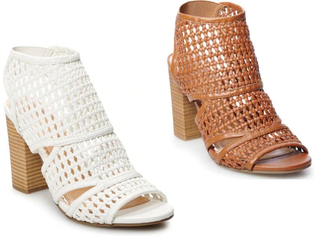 women's heeled woven shoes