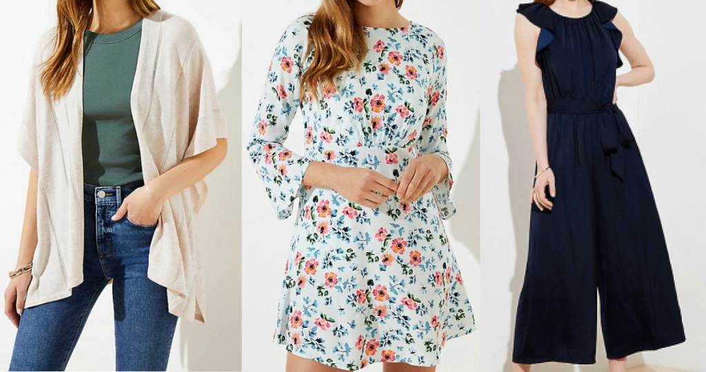 woman in beige cardigan, woman in white floral dress, and woman in dark blue jumpsuit