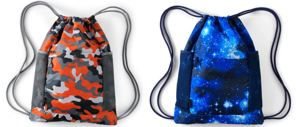2 lands' end cinch sack backpacks sitting side by side