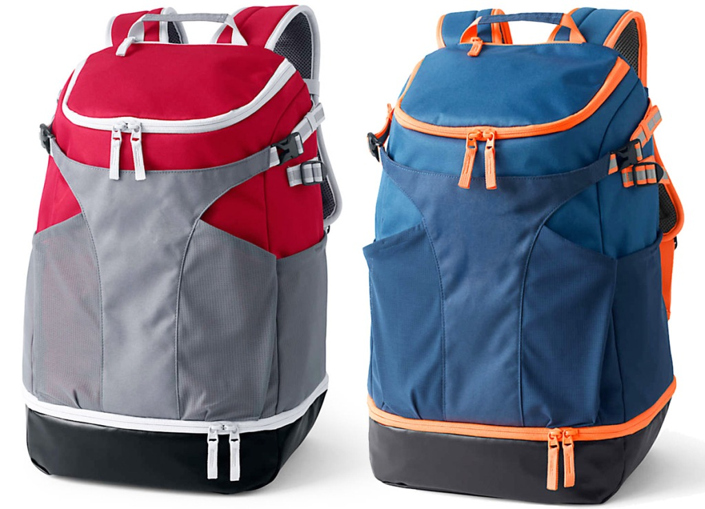 large kids backpacks in two tone colors with top and bottom zip compartments