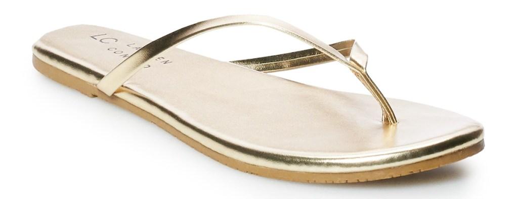 metallic gold colored flip-flop sandal