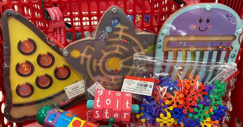 front of shopping cart full of mazes, puzzles and games