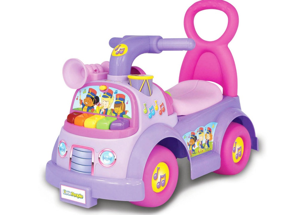 pink and purple fisher price little people themed toddler ride-on