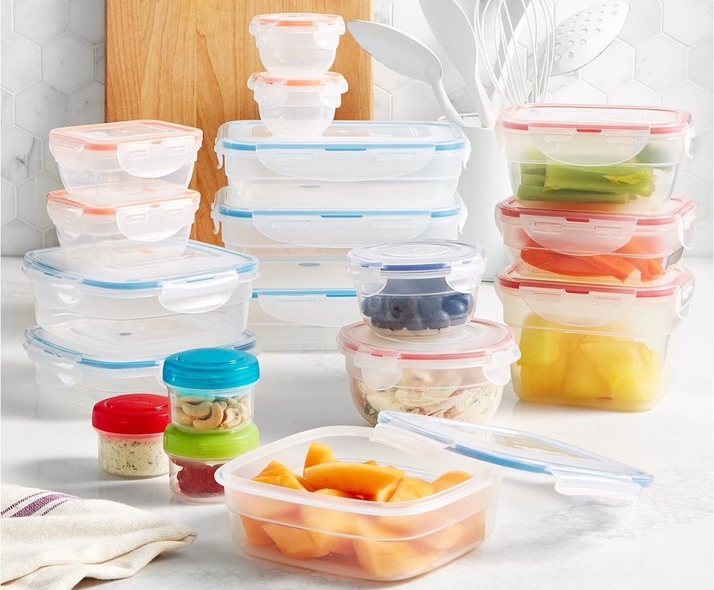 Lock n Lock Easy Essentials Color Mates 36-Piece Food Storage Container Set with nuts and fruit