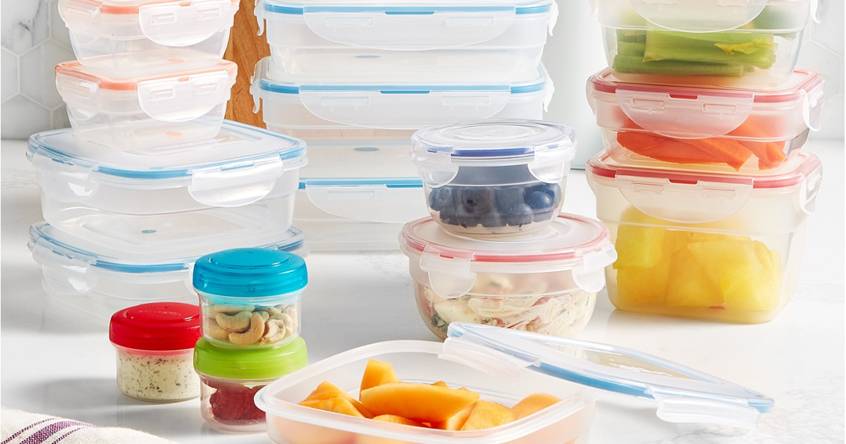 Food storage containers with lids on a white surface