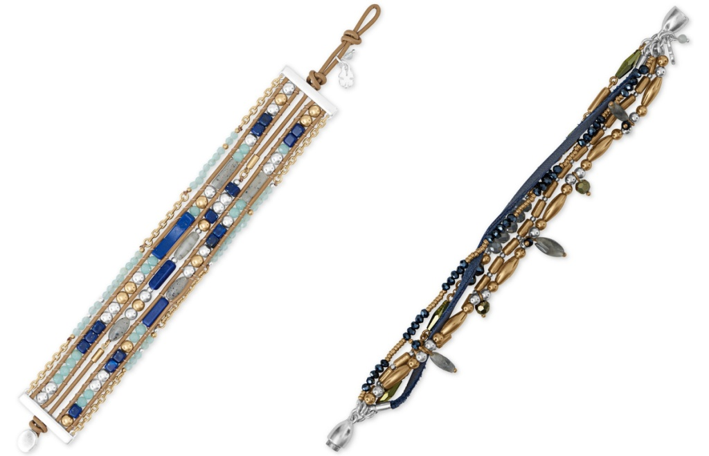 Lucky Brand Two-Tone Bead & Leather Multi-Row Bracelets