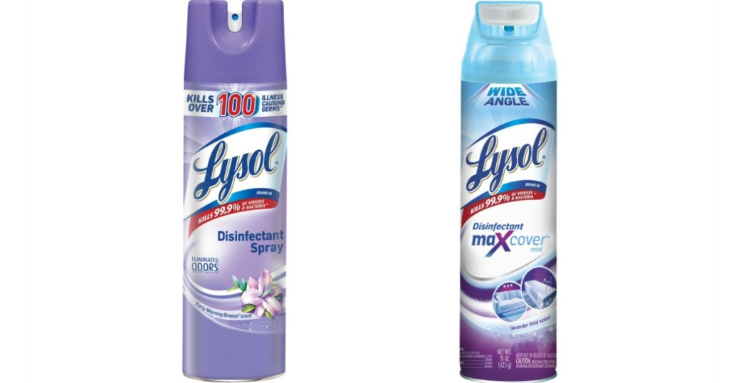 two bottles of Lysol spray